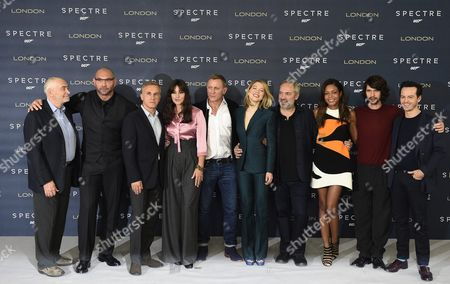 (l-r) Us Producer Michael G Wilson Us Actor Dave Bautista Austrian Actor Christoph Waltz Italian Actress Monica Belluci British Actor Daniel Craig French Actress Lea Seydoux British Director Sam Mendes and British Actress Naomi Harris British Actor Ben Whishaw and Irish Actor Andrew Scott Pose For Photographers During a Photocall to Unveil the New James Bond Film 'Spectre' at a Hotel in Central London Britain 22 October 2015 the 24th Bond Movie Will Be Released in British Theaters on 26 October the Same Day As Its World Premiere in London United Kingdom London