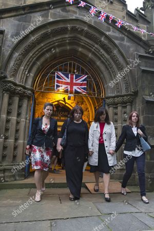 Labour Mps Mary Creagh (l) and Caroline Flint (2-r Others not Identified) Leave a Church Service For Killed Labour Mp Cox at St Peters Church in Birtsall Britain 16 June 2016 Labour Mp Jo Cox was Reported Dead at the Hospital in Leeds After Being Shot and Critically Injured in Birstall Cox was Airlfted From the Attack Scene to a Hospital in Leeds where She Later Died Cox Had in Recent Weeks Campaigned For the Remain Camp Brits Will Vote on Whether They Want Remain in the Eu on 23 June United Kingdom Birstall