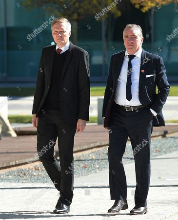 Ian Ayre (r) the Ceo of Liverpool Football Club and Liverpool Fc Press Relations Manager Craig Evans (l) Walk Towards the Coroners Court Before the Verdict of the Hillsborough Inquest is Announced at the Coroners Court Warrington Britain 26 April 2016 the Hillsborough Disaster was a Human Crush That Caused the Deaths of 96 People and Injured 766 Others at a Fa Cup Semi Final Soccer Match Between Liverpool and Nottingham Forest at Hillsborough Stadium Sheffield England on 15 April 1989 United Kingdom Warrington