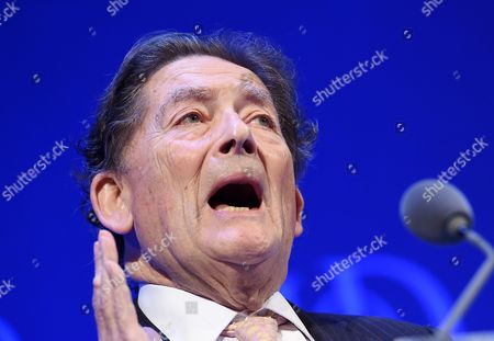 Former British Chancellor of the Exchequer Nigel Lawson Lord Lawson of Blaby Speaks at the Institute of Directors Annual Convention at the Royal Albert Hall in Central London England 06 October 2015 United Kingdom London