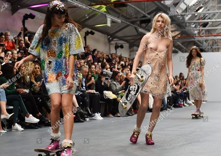 Models Present on Skate Boards Creations From the Spring/summer 2016 Collection of Ashish by Indian-born Designer Ashish Gupta During the London Fashion Week in London Britain 22 September 2015 the Presentation of the Women's Collections Runs From 18 to 22 September United Kingdom London