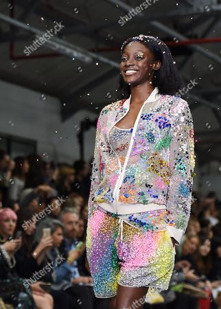 A Model Presents a Creation From the Spring/summer 2016 Collection of Ashish by Indian-born Designer Ashish Gupta During the London Fashion Week in London Britain 22 September 2015 the Presentation of the Women's Collections Runs From 18 to 22 September United Kingdom London
