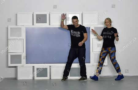 Stock Photo of Teatum Jones Designers' Catherine Teatum (r) and Rob Jones Appear on the Catwalk After the Presentation of Their Spring/summer 2017 Collection During the London Fashion Week in London Britain 16 September 2016 the Presentation of the Women's Collections Runs From 16 to 20 September United Kingdom London