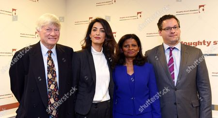 Barrister Geoffrey Robertson (l-r) Barrister Amal Clooney Laila Ali Wife of Former Maldives President Mohamed Nasheed and Freedom Now Founder Jared Genser Pose For Photographers During a Press Conference in Doughty Street Chambers in London Britain 05 October 2015 Human Rights Lawyer Amal Clooney and Former First Lady of the Maldives Laila Ali Discussed During a Press Conference why Former President Mohamed Nasheed is Being Unjustly Detained in the Maldives and Also Commented on a 05 October Ruling by the Un Working Group on Arbitrary Detention on Nasheed's Case United Kingdom London