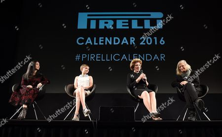 (l-r) Chinese Actress Yao Chen (l) Us Magazine Editor and Actress Tavi Gevinson Us Philanthropist Art Patron and Collector Agnes Gund (2-r) and Us Photographer Annie Leibovitz on Stage at the Pirelli 2016 Calendar Presentation in London Britain 30 November 2015 the 43rd Edition of the Pirelli Calendar was Created by Leibovitz in Her New York Studio United Kingdom London