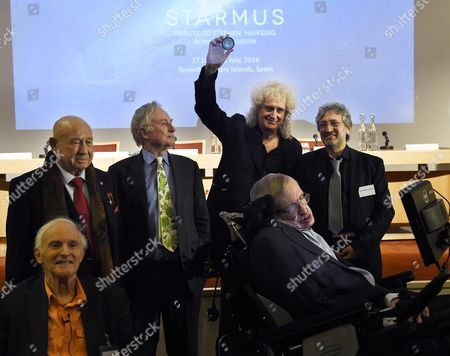 (l-r) Chemist and Nobel Laureate Harold Kroto Retired Soviet/russian Cosmonaut Alexey Leonov Evolutionary Biologist Richard Dawkins Former Guitarist of the Band Queen Brian May Theoretical Physicist Stephen Hawking and Astrophysicist Garik Israelian Attend the Unveiling Event of the New 'Starmus' Award in the Royal Society in London Britain 16 December 2015 the Medal For Science Communication is in Honour of Professor Stephen Hawking and Recognises the Work of Those Helping to Promote Public Awareness of Science Through Music Arts and Cinema United Kingdom London
