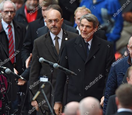 Former Liverpool Players Bruce Grobbelaar (l) and Alan Hansen (r) Attend the Liverpool Fc Hillsborough Memorial Held at Anfield in Liverpool Britain 15 April 2016 a Total of 96 People Were Killed and Hundreds Injured at a Soccer Match Between Liverpool and Nottingham Forest at Hillsborough Stadium Sheffield England on 15 April 1989 United Kingdom Liverpool