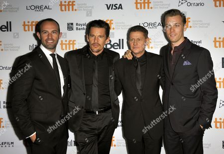 (l-r) Us Producer Zev Foreman Us Actor and Cast Member Ethan Hawke New Zealander Director Andrew Niccol and Us Actor and Cast Member Jake Abel Arrive For the Screening of 'Good Kill' During the 39th Annual Toronto International Film Festival (tiff) in Toronto Canada 09 September 2014 the Festival Runs From 04 to 14 September Canada Toronto