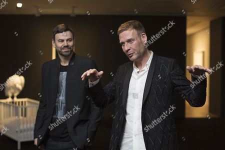 Danish Artist Michael Elmgreen (r) and Norwegian Artist Ingar Dragset Speak About Their Work During the Opening of the Exhibition 'The Old World' in the Galerie Perrotin in Hong Kong China 03 March 2014 the Exhibition Runs Until 03 May China Hong Kong