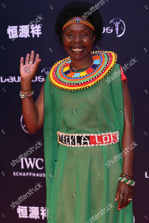 Laureus World Sports Academy Member Tegla Loroupe Arrives For the 2015 Laureus Sports Awards Ceremony at Shanghai Grand Theater in Shanghai City China 15 April 2015 the Laureus Media Prize is Attributed to People That Have Made an Impact to the World of Sport China Shanghai
