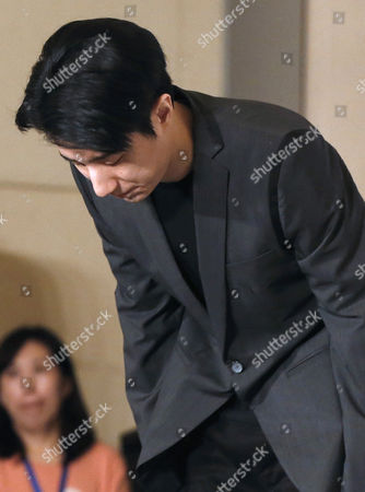 Chinese Entertainment Star Jaycee Chan Bows During a Press Conference After His Release From Prison in Beijing China 14 February 2015 Jaycee Chan Son of Hollywood Actor Jackie Chan was Released From Prison on 13 February 2015 After Being Sentenced to Six Months in Prison and Fined 2000 Yuan (321 Dollars) For Drug Related Charges China Beijing