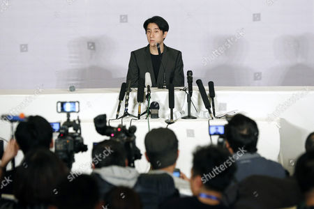 Stock Photo of Chinese Entertainment Star Jaycee Chan Attends a Press Conference After His Release From Prison in Beijing China 14 February 2015 Jaycee Chan Son of Hollywood Actor Jackie Chan was Released From Prison on 13 February 2015 After Being Sentenced to Six Months in Prison and Fined 2000 Yuan (321 Dollars) For Drug Related Charges China Beijing