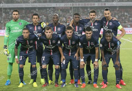 Stock Image of Players of Paris Saint-germain Gather For a Team Photo During the Trophee Des Champions Soccer Match Between Paris Saint-germain and Ea Guingamp at the Workers Stadium in Beijing China 02 August 2014 Back Row (l-r) Are Salvatore Sirigu Marcos Aoas Correa Zoumana Camara Jean-christophe Bahebeck Thiago Motta and Zlatan Ibrahimovic Front Row (l-r) Are Gregory Van Der Wiel Lucas Digne Marco Verratti Javier Pastore and Hervin Ongenda China Beijing