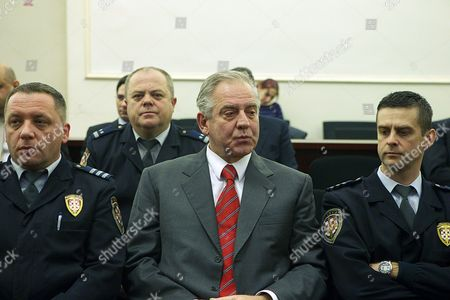 Former Croatian Prime Minister Ivo Sanader (c) Appears in Court During a Trial Known As the Planinska Street Case in Zagreb Croatia 15 January 2014 Sanader is Accused of Property Fraud and Embezzlement of the State Budget Croatia Zagreb