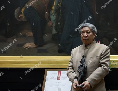 Chinese Writer Yan Lianke Poses After He Received the Franz Kafka Award 2014 by the Franz Kafka Society Cultural Organization in the Old Town Hall of Prague in Prague Czech Republic 22 October 2014 Czech Republic Prague