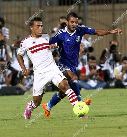 Samoha Player Ahmed Homos (r) Fights For the Ball with Zamalek's Mohamed Abdel Shafy (l) During the Final Egyptian Cup Soccer Match in Cairo Egypt 19 July 2014 Egypt Cairo