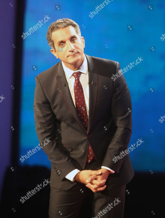 Egypt's Popular Satirist Bassem Youssef Looks on During a Press Conference in Cairo Egypt 02 June 2014 Youssef Said on 02 June That His Show Will not Be Returning to Television Youssef's Program Al-bernameg Which Means the Show was Broadcast on the Saudi-funded Mbc Network the Show Had Taken a One-month Vacation and Had Been Scheduled to Return on 30 May Two Days After the Presidential Election Ended However It was Suspended Egypt Cairo