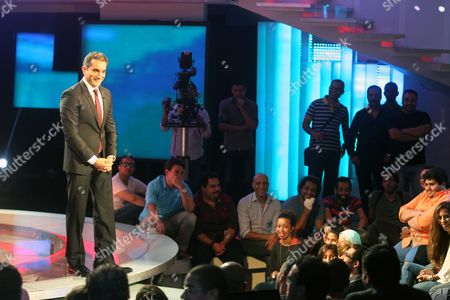 Egypt's Popular Satirist Bassem Youssef Speaks During a Press Conference in Cairo Egypt 02 June 2014 Youssef Said on 02 June That His Show Will not Be Returning to Television Youssef's Program Al-bernameg Which Means the Show was Broadcast on the Saudi-funded Mbc Network the Show Had Taken a One-month Vacation and Had Been Scheduled to Return on 30 May Two Days After the Presidential Election Ended However It was Suspended Egypt Cairo