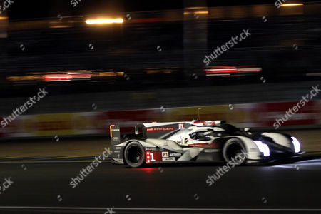 Audi Sport Team Joest in Audi R18 E-tron Quattro with Lucas Di Grassi of Brazil Loic Duval of France and Tom Kristensen of Denmark During the Night of Le Mans 24 Hours Race in Le Mans France 15 June 2014 the Race Started at 3pm and is Scheduled to Finish at 3pm on 15 June France Le Mans