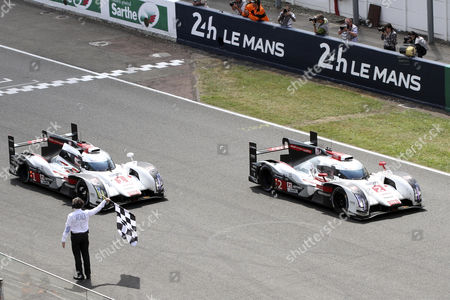 Audi Sport Joest Team Ní 2 in a Audi R18 E-tron Quattro Driven by Marcel Fassler of Switzerland Andre Lotterer of Germany and Benoit Treluyer of France Finish at the First Place and the Audi Sport Team Joest Ní1 in Audi R18 E-tron Quattro Driven by Lucas Di Grassi of Brazil Loic Duval of France and Tom Kristensen of Denmark Finish at the Second Place France Le Mans