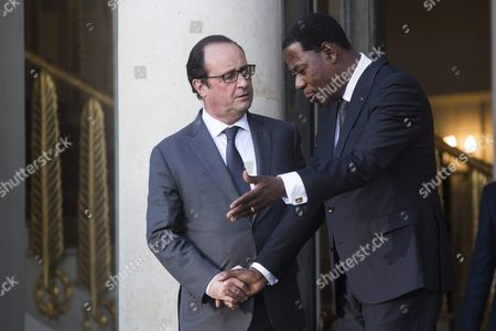 Benin President Thomas Boni Yayi (r) is Escorted by French President Francois Hollande After a Press Conference Following a Lunch at the Elysee Palace to Honor the African Presidents Involved in Sustainable Development in Regard to the Cop21 in Paris France 10 November 2015 France Paris