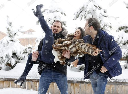French Actors Antoine Gouy (l) Fanny Valette (c) and French Producer Paul Lefevre (r) Pose During the Photocall For 'A Love You' at the 18th Annual International Comedy Film Festival in L'alpe D'huez France 17 January 2015 the Festival Runs From 14 to 18 January France Alpe D'huez