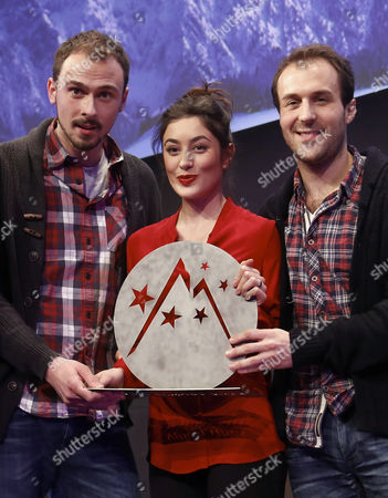 From (l-r) French Actors Antoine Gouy Fanny Valette and French Producer Paul Lefevre Hold the 'Special Jury' Prize For Their Movie 'A Love You' During the Closing Ceremony of the 18th Annual International Comedy Film Festival in L'alpe D'huez France 17 January 2015 France Alpe D'huez