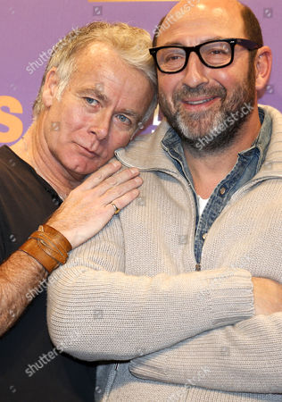 French Actor Franck Dubosc (l) and Kad Merad (r) Attend the Opening Ceremony of the 18th Annual International Comedy Film Festival in L'alpe D'huez France 14 January 2015 the Festival Runs From 14 to 18 January France Alpe D'huez