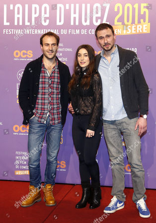 French Filmmaker Paul Lefevre (l) French Actors Fanny Valette (c) and Antoine Gouy (r) Pose During Aphotocall For 'A Love You' at the 18th Annual International Comedy Film Festival in L'alpe D'huez France 16 January 2015 the Festival Runs From 14 to 18 January France Alpe D'huez