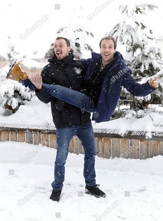 French Actor Antoine Gouy (l) and French Producer Paul Lefevre (r) Pose During the Photocall For 'A Love You' at the 18th Annual International Comedy Film Festival in L'alpe D'huez France 17 January 2015 the Festival Runs From 14 to 18 January France Alpe D'huez