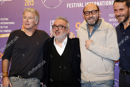 (l-r) French Actor Franck Dubosc Dominique Farrugia Kad Merad and Julien Boisselier Attend the Opening Ceremony of the 18th Annual International Comedy Film Festival in L'alpe D'huez France 14 January 2015 the Festival Runs From 14 to 18 January France Alpe D'huez
