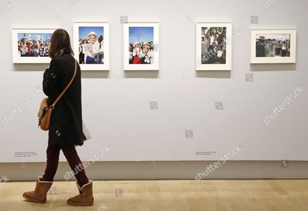 A Visitor Looks at Photographs by French Raymond Depardon Displayed As Part of the 'Depardon: Un Moment Si Doux' Exhibition at the Grand Palais in Paris France 12 November 2013 the Exhibition Runs From 14 November to 10 February 2014 France Paris