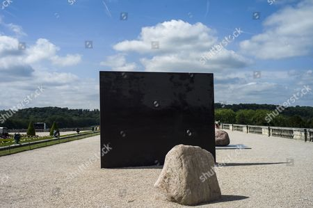The Sculpture 'Relatum - Dialogue X' by Korean Artist Lee Ufan is on Display in the Garden of Chateau De Versailles in Versailles Near Paris France 20 June 2014 From 17 June to 02 November the Palace of Versailles Hosts a Major Contemporary Art Exhibition by Lee Ufan France Versailles