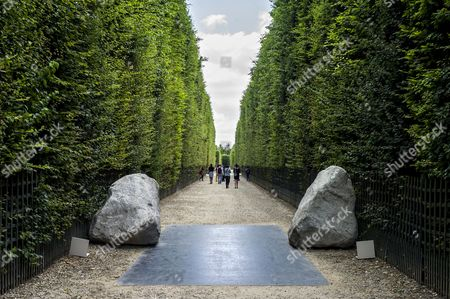The Sculpture 'Relatum - Earth of the Bridge' by Korean Artist Lee Ufan is on Display in the Garden of Chateau De Versailles in Versailles Near Paris France 20 June 2014 From 17 June to 02 November the Palace of Versailles Hosts a Major Contemporary Art Exhibition by Lee Ufan France Versailles