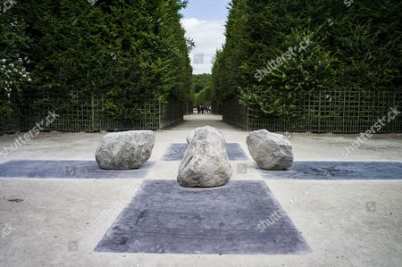 The Sculpture 'Relatum - Four Sides of Messengers' by Korean Artist Lee Ufan is on Display in the Garden of Chateau De Versailles in Versailles Near Paris France 20 June 2014 From 17 June to 02 November the Palace of Versailles Hosts a Major Contemporary Art Exhibition by Lee Ufan France Versailles