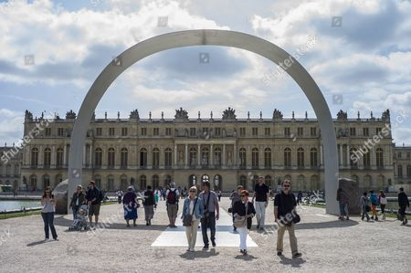 The Sculpture 'Relatum - Larche De Versailles' (relatum - the Arch of Versailles) by Korean Artist Lee Ufan is on Display in the Garden of Chateau De Versailles in Versailles Near Paris France 20 June 2014 From 17 June to 02 November the Palace of Versailles Hosts a Major Contemporary Art Exhibition by Lee Ufan France Versailles