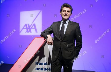 Henri De Castries Chairman and Ceo of Axa Poses For Photographs After Holding a News Conference to Presents the French Insurance Company's 2015 Results in Paris France 25 February 2016 the Company Has Announced a Net Income of 5 6 Billions Euros in 2015 Which Represents a 3 Per Cent Increase France Paris