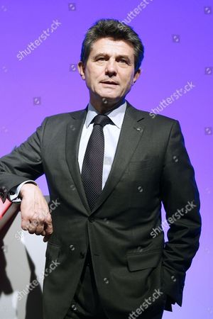 Stock Photo of Henri De Castries Chairman and Ceo of Axa Poses For Photographs After Holding a News Conference to Presents the French Insurance Company's 2015 Results in Paris France 25 February 2016 the Company Has Announced a Net Income of 5 6 Billions Euros in 2015 Which Represents a 3 Per Cent Increase France Paris