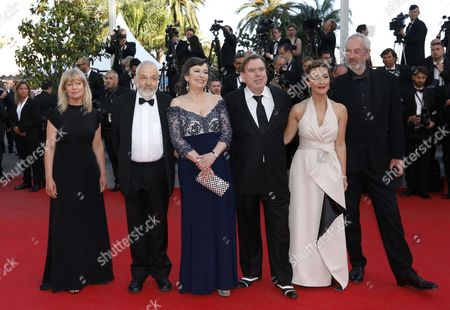 (l-r) Producer Georgina Lowe British Director Mike Leigh British Actress Marion Bailey British Actor Timothy Spall British Actress Dorothy Atkinson and British Cinematographer Dick Pope Arrive For the Screening of 'Mr Turner' During the 67th Annual Cannes Film Festival in Cannes France 15 May 2014 the Movie is Presented in the Official Competition of the Festival Which Runs From 14 to 25 May France Cannes