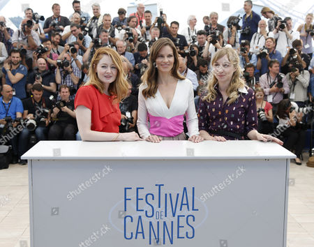 (l-r) Australian Actress Miranda Otto Us Actress Hilary Swank and Danish Actress Sonja Richter Pose During the Photocall For 'The Homesman' at the 67th Annual Cannes Film Festival in Cannes France 18 May 2014 the Movie is Presented in the Official Competition of the Festival Which Runs From 14 to 25 May France Cannes