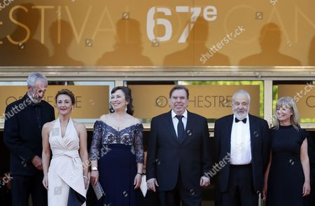 (l-r) British Cinematographer Dick Pope British Actress Dorothy Atkinson British Actress Marion Bailey British Actor Timothy Spall British Director Mike Leigh and Producer Georgina Lowe Arrive For the Screening of 'Mr Turner' During the 67th Annual Cannes Film Festival in Cannes France 15 May 2014 the Movie is Presented in the Official Competition of the Festival Which Runs From 14 to 25 May France Cannes