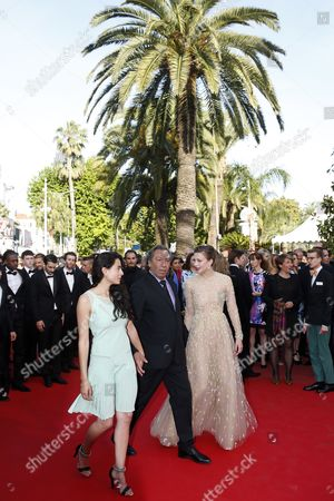 (l-r) Actress Nailia Harzoune French Director Tony Gatlif and French Actress Celine Sallette Arrive For the Screening of 'Deux Jours Une Nuit' (two Days One Night) During the 67th Annual Cannes Film Festival in Cannes France 20 May 2014 the Movie is Presented in the Official Competition of the Festival Which Runs From 14 to 25 May France Cannes