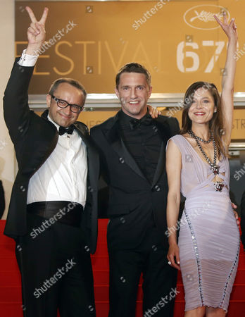 Russian Director Andrey Zvyagintsev (l) Russian Actor Vladimir Vdovichenkov (c) and Russian Actress Elena Lyadova (r) Arrive For the Screening of 'Leviathan' During the 67th Annual Cannes Film Festival in Cannes France 23 May 2014 the Movie is Presented in the Official Competition of the Festival Which Runs From 14 to 25 May France Cannes