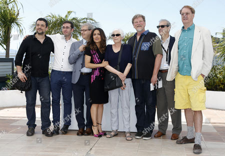 (l-r) French Director Joann Sfar Irish Director Tomm Moore French Director Gaetan Brizzi Mexican Producer Salma Hayek-pinault Us Director Joan C Gratz Us Director Roger Allers French Director Paul Brizzi and Us Director Bill Plympton Pose During the Photocall For a Tribute to Animated Films at the 67th Annual Cannes Film Festival in Cannes France 17 May 2014 the Festival Runs From 14 to 25 May France Cannes