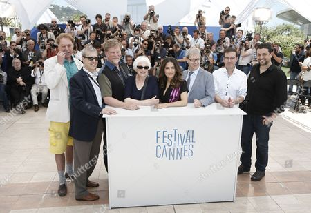 (l-r) Us Director Bill Plympton French Director Paul Brizzi Us Director Roger Allers Us Director Joan C Gratz Mexican Producer Salma Hayek-pinault French Director Gaetan Brizzi Irish Director Tomm Moore and French Director Joann Sfar Pose During the Photocall For a Tribute to Animated Films at the 67th Annual Cannes Film Festival in Cannes France 17 May 2014 the Festival Runs From 14 to 25 May France Cannes