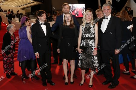 Actress Birte Schnoeink (front C) Austrian Director Jessica Hausner (2-r) German Actor Christian Friedel (front L) German Actor Stephan Grossmann (back C) and Guests Arrive For the Screening of 'Captives' (the Captive) During the 67th Annual Cannes Film Festival in Cannes France 16 May 2014 the Movie is Presented in the Official Competition of the Festival Which Runs From 14 to 25 May France Cannes