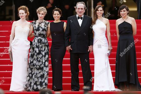 Australian Actress Miranda Otto (l) Danish Actress Sonja Richter (2-l) Us Director Tommy Lee Jones (3-r) and Wife Dawn Laurel-jones (3-l) Us Actress Hilary Swank (2-r) and Guest Arrive For the Screening of 'The Homesman' During the 67th Annual Cannes Film Festival in Cannes France 18 May 2014 the Movie is Presented in the Official Competition of the Festival Which Runs From 14 to 25 May France Cannes