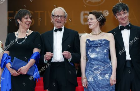 (l-r) Producer Rebecca O'brien British Director Ken Loach Irish Actress Simone Kirby and Irish Actor Barry Ward Arrive For the Screening of 'Jimmy's Hall' During the 67th Annual Cannes Film Festival in Cannes France 22 May 2014 the Movie is Presented in the Official Competition of the Festival Which Runs From 14 to 25 May France Cannes