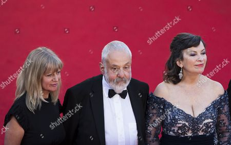 (l-r) Producer Georgina Lowe British Director Mike Leigh and British Actress Marion Bailey Arrive For the Screening of 'Mr Turner' During the 67th Annual Cannes Film Festival in Cannes France 15 May 2014 the Movie is Presented in the Official Competition of the Festival Which Runs From 14 to 25 May France Cannes