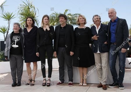 (l-r) Golden Camera Jury Members Us Critic Lisa Nesselson French Journalist Sophie Grassin French Director Helena Klotz Managing Director Mikros Image Gilles Gaillard French Director Nicole Garcia French Actor Richard Anconina and Belgian Cinematographer Philippe Van Leeuw Pose During a Photocall at the 67th Annual Cannes Film Festival in Cannes France 17 May 2014 the Festival Runs From 14 to 25 May France Cannes